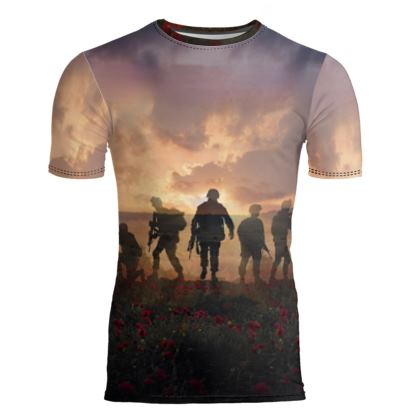 Mens Slim Fit T-Shirt, Soldiers in a field of poppies.