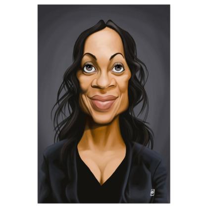 Rosario Dawson Celebrity Caricature Art Print