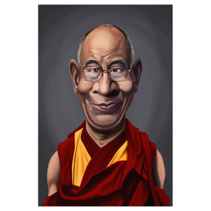 Dalai Lama Celebrity Caricature Art Print