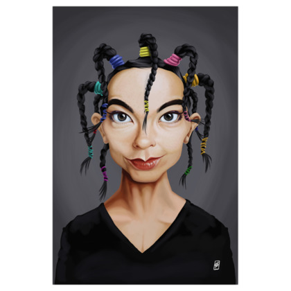 Björk Celebrity Caricature Art Print
