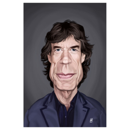 Mick Jagger Celebrity Caricature Art Print