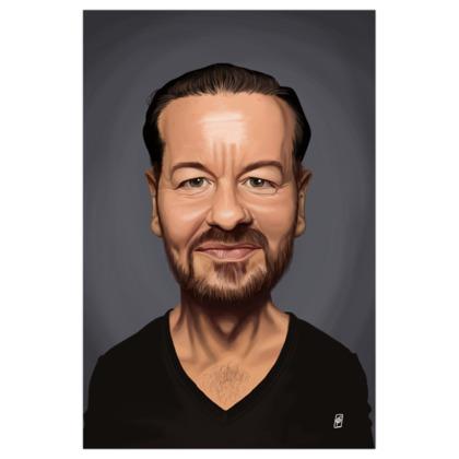 Ricky Gervais Celebrity Caricature Art Print