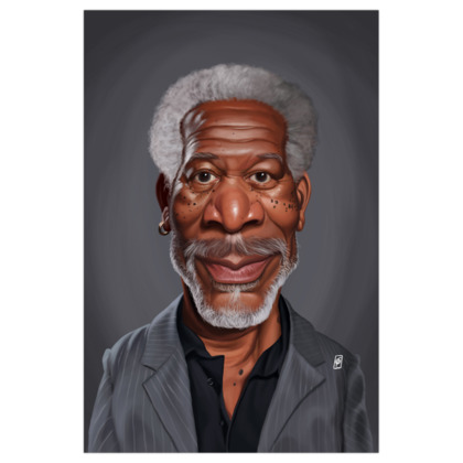 Morgan Freeman Celebrity Caricature Art Print