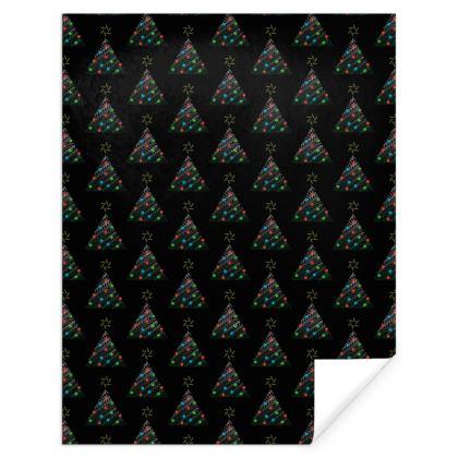 Christmas Trees Pattern Black Gift Wrap