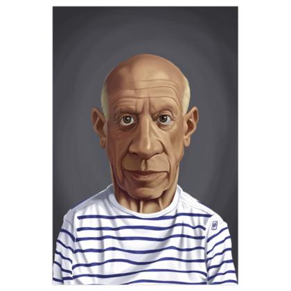 Pablo Picasso Celebrity Caricature Art Print