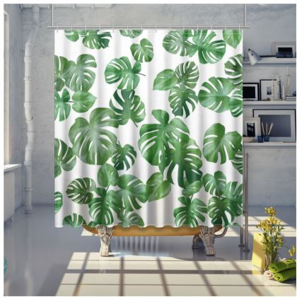 Shower curtain - Monstera Deliciosa - white