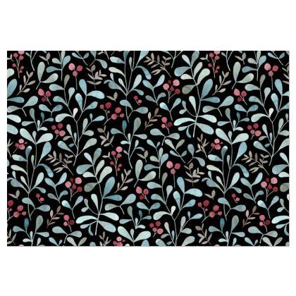 Winter flora dark - Occ. Chair - watercolor red berries and mistletoe leaves