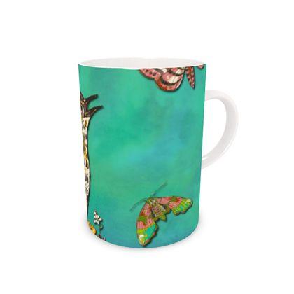 Floral Song Thrush China Mug