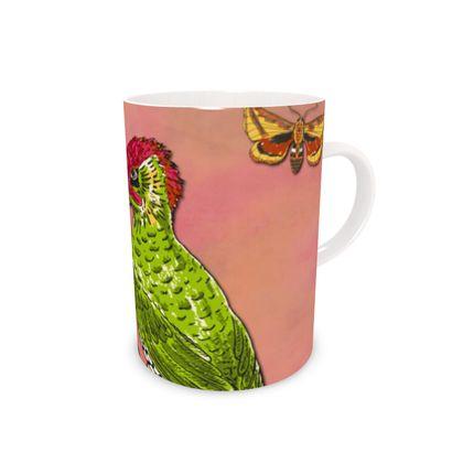 Floral Woodpecker China Mug
