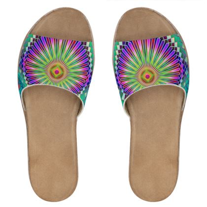 Womens Leather Sliders Sun Mandala