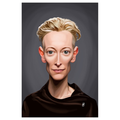 Tilda Swinton Celebrity Caricature Art Print