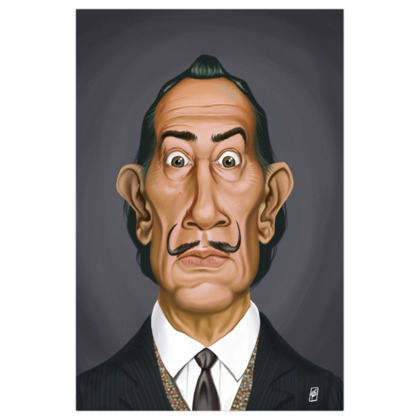 Salvador Dali Celebrity Caricature Art Print