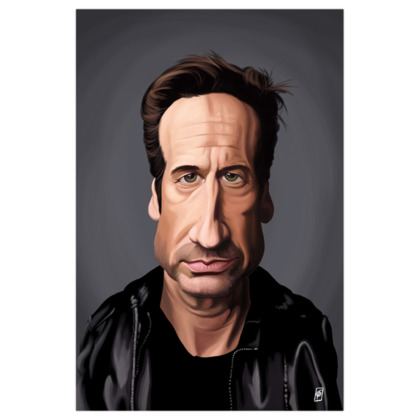 David Duchovny Celebrity Caricature Art Print