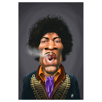 Jimi Hendrix Celebrity Caricature Art Print