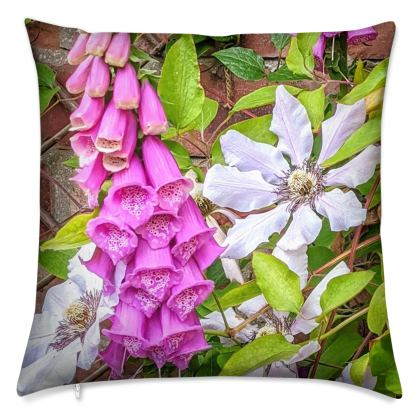 Foxglove and Clematis Nelly Moser Velvet Cushion