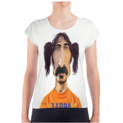 Frank Zappa Celebrity Caricature Ladies T Shirt