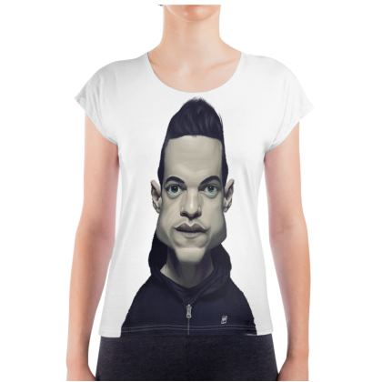 Rami Malek Celebrity Caricature Ladies T Shirt