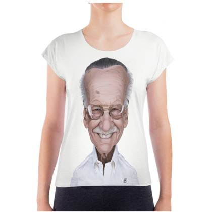Stan Lee Celebrity Caricature Ladies T Shirt