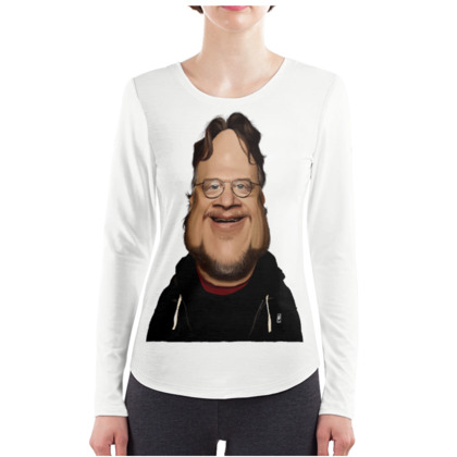 Guillermo Del Toro Celebrity Caricature ladies Long Sleeve Shirt