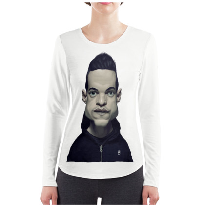 Rami Malek Celebrity Caricature ladies Long Sleeve Shirt