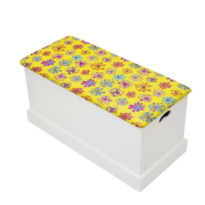 Rainbow Daisies Collection on yellow Blanket Box