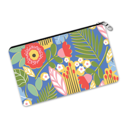 Paradise House Tropical Floral Blue Pencil Case