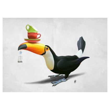 Tea for Tou ~ Wordless Animal Behaviour Art Postcard