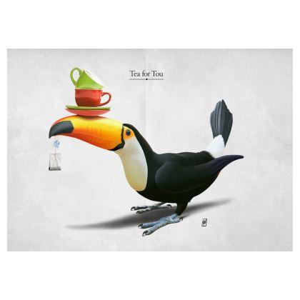 Tea for Tou ~ Title Animal Behaviour Art Postcard