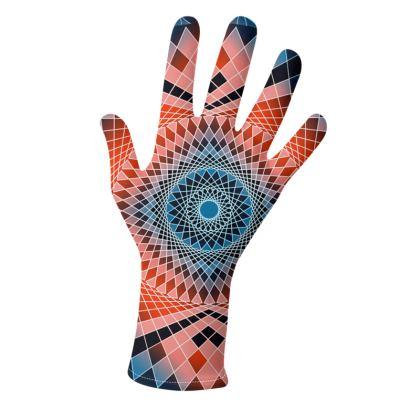 Gloves Blue Red Mandala