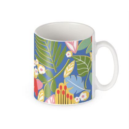 Paradise House Tropical Floral Blue Builders Mugs