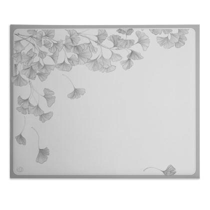 Falling Ginkgo leaves - gray desk pad