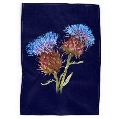 Scottish Thistle Tea Towel (Navy)