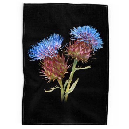 Scottish Thistle Tea Towel (Black)