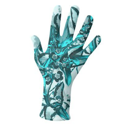 Gloves Turquoise Flower