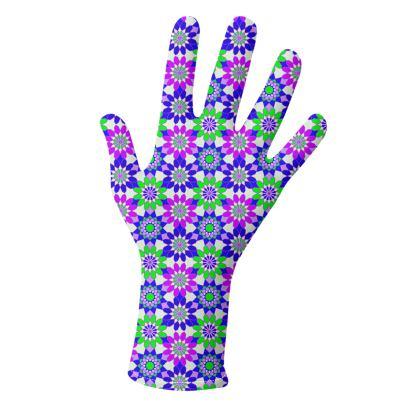 Gloves Floral Purple Green Kaleidoscope