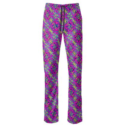 Womens Trousers Arabesque Purple Pattern