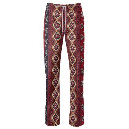 Womens Trousers Mayan Pattern Red