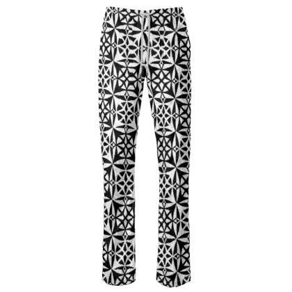 Womens Trousers Black White Tile
