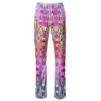 Womens Trousers Pink Grey Splashes