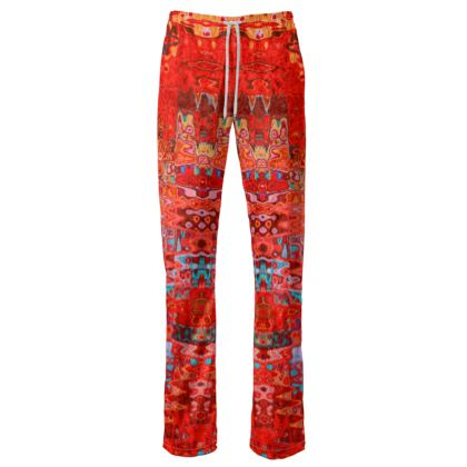 Womens Trousers Red Splashes
