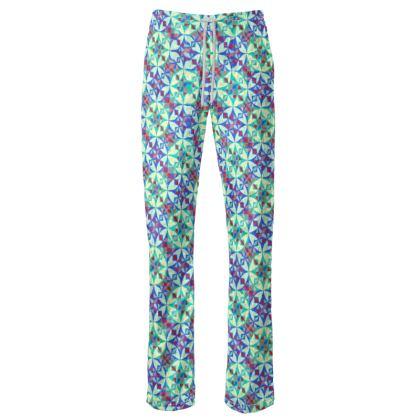 Womens Trousers Arabesque Green Pattern