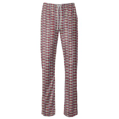 Womens Trousers Mayan Pattern Red Grey