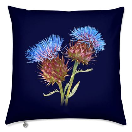 Scottish Thistle Cushion (Navy)