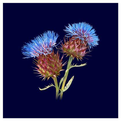 Scottish Thistle Luxury Cushion (Navy)