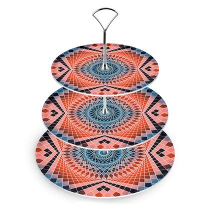 Cake Stand Blue Red Mandala Pattern