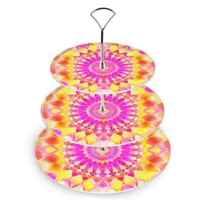 Cake Stand Yellow Pink Mandala