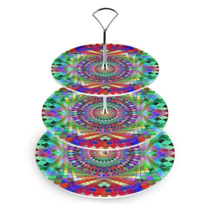 Cake Stand Rainbow Mandala