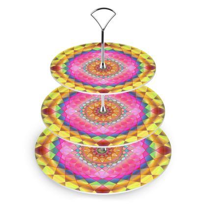 Cake Stand Gold Pink Mandala