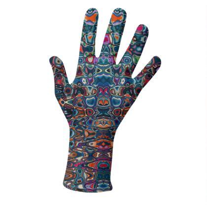 Gloves Splashes Blue Brown
