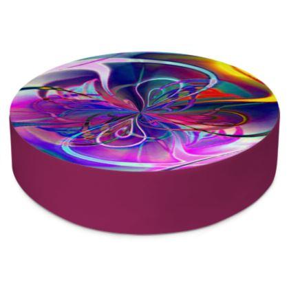 Round Floor Cushions Purple Flower